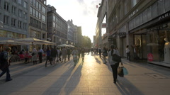Walking near the shops in the city center of Munich Stock Footage
