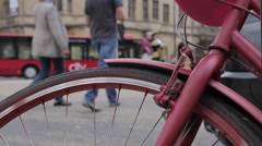 Cycle Wheel on Queen Street, Oxford, Oxfordshire, England, UK, Europe Stock Footage