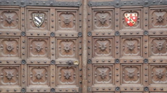 Ornate Wooden Door on Broad Street, Oxford, Oxfordshire, England, UK, Europe Stock Footage