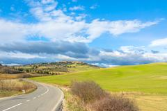 street view of tuscan landscape and Pienza - stock photo