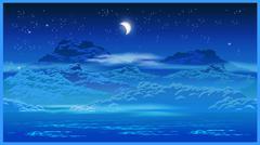 Highlands at night - stock illustration