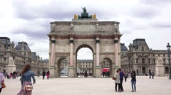Stock Video Footage of The Arc de Triomphe du Carrousel (in 4k) in Paris, France.