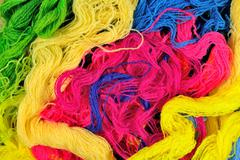 Multicolored acrylic yarn as background texture Stock Photos