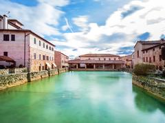 old thermal baths in Bagno Vignoni, Italy - stock photo