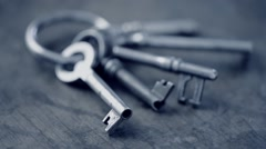Old vintage skeleton keys Stock Footage