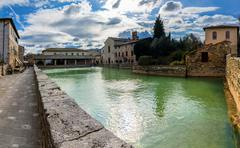 Old thermal baths in Bagno Vignoni, Italy Stock Photos