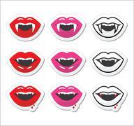 Vampire mouth, vampire teeth vector labels set - stock illustration