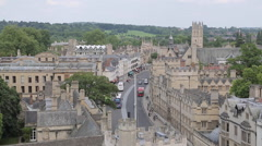 View of City from University Church of St Mary, Oxford, Oxfordshire, England, - stock footage