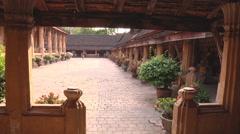 Courtyard in Wat Si Saket monastery, Vientiane, Laos Stock Footage