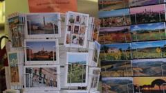 Souvenirs on Via Banchi di Sopra, Siena, Tuscany, Italy, Europe Stock Footage