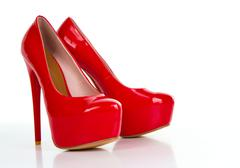 Red high heel women shoe - stock photo