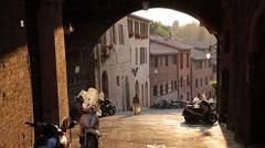 Narrow Street near Piazza del Campo, Siena, Tuscany, Italy, Europe Stock Footage