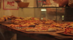 Pizza Restaurant near Piazza del Campo, Siena, Tuscany, Italy, Europe Stock Footage