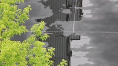 Rainy Day Reflection In Tennis Court Moscow City Stock Footage