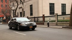 Town Car on East 36th Street Passing Morgan Library Stock Footage