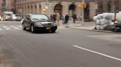 Town Car on East 36th Street going Left to Right NYC Stock Footage