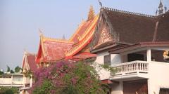 Roof and sculptures in Wat Si Saket monastery, Vientiane, Laos Stock Footage