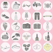 Set of vintage wedding, fashion style and travel elements icons - stock illustration