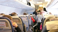 board the plane with passengers - stock footage
