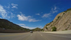 Drive American highway with mountains 3 Stock Footage