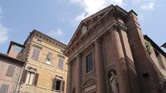 Chiesa di San Cristoforo on Piazza Tolomei, Siena, Tuscany, Italy, Europe Stock Footage