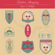 Set of vintage fashion and clothes style logos. Vector logo - stock illustration