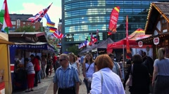 Market, trade on the street in Helsinki. 4K. Stock Footage