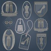 Set of vintage fashion and clothes style logos. Vector logo templates and bad - stock illustration