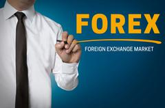 Forex is written by businessman background concept Stock Photos