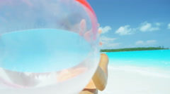 Ethnic African American female enjoying vacation with beach ball - stock footage