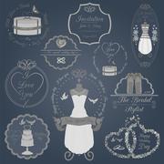 Set of vintage wedding and wedding fashion style logos. Vector logo templates - stock illustration