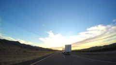 Passing a truck on the highway Stock Footage