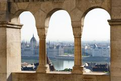 Budapest, view from Buda side to Pest - stock photo