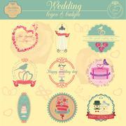 Stock Illustration of Set of vintage wedding and wedding fashion style logos. Vector logo