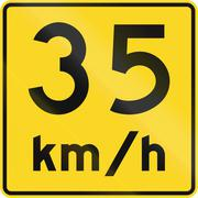 Speed Limit 35 Kmh In Canada Stock Illustration