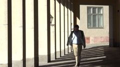 Stock Video Footage of Colonnade with shadows  from stockholm city sweden