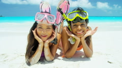 Young multi ethnic girlfriends in swimwear going snorkeling - stock footage