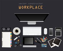 Working place in flat design. Constructor of your own work space - stock illustration