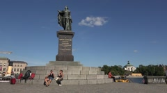 Stock Video Footage of Kings Statue in Stockholm city   from sweden