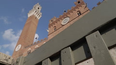 Pubblico Palace Campanile, Piazza del Campo, Siena, Tuscany, Italy, Europe Stock Footage