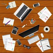 Business meeting. Working place in flat design. Constructor of your own work  - stock illustration