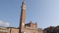 Restaurant & Pubblico Palace Campanile, Piazza del Campo, Siena, Tuscany, Italy, Stock Footage
