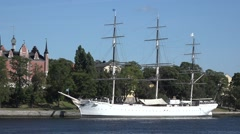 Sailing ship Chapman  in stockholm city - sweden Stock Footage