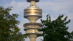 Close up view with the Olympic Tower in Munich Stock Footage