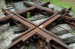 Railroad Train Intersection Track - stock photo