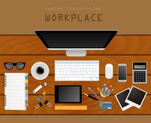 Working place in flat design. Constructor of your own work space Stock Illustration