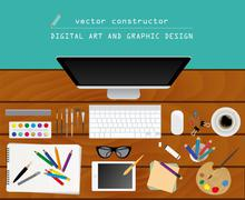 Digital art and graphic design. Working place in flat design. Constructor of  - stock illustration