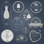 Stock Illustration of Set of vintage wedding and wedding fashion style logos. Vector logo templates