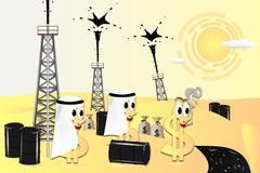 Arab friends support petrodollar - stock illustration