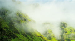 Iceland Southern volcanic mountain mist cloud travel - stock footage